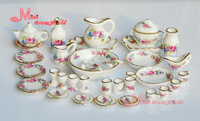 Free Shipping !  Porcelain Rose Tea Dinner Set  Lots Of 40PCS Dining DIsh Plate~ 1/12 Scale Dollhouse Miniature Furniture