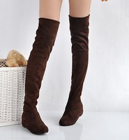 2013 top grade boots for women autumn winter over the knee black brown low heels brand Free Shipping