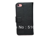 New Leather slot wallet Cover stand Flip Case for iphone 5C Free Shipping and Free Screen Protector as gift