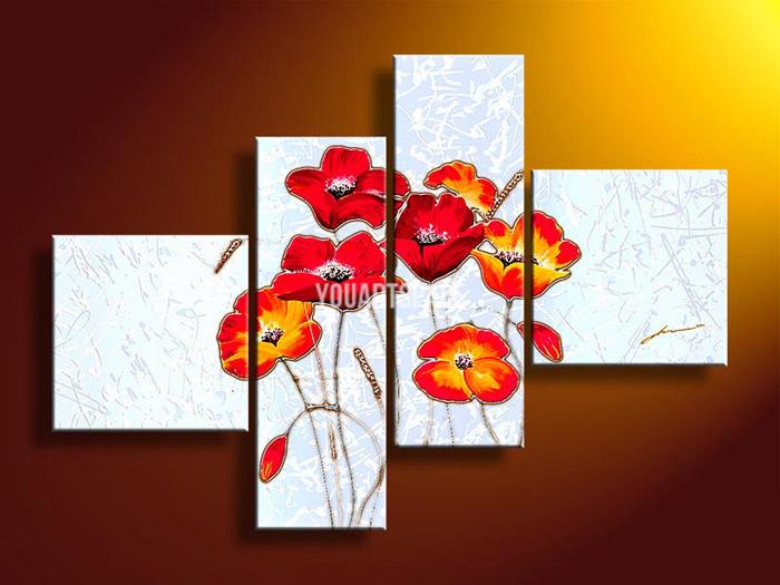 4 peças de parede Arte Sem modernos Framed abstrata acrílica Flor Red Poppies Pintura a óleo sobre tela imagens Imagem Decor(China (Mainland))