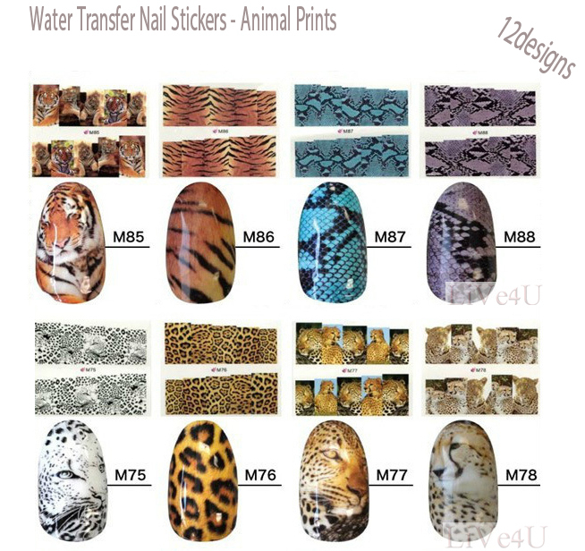 Nail Art Water Transfers Stickers Tiger, Snake, Leopard prints Nail Decals Nail Stickers,Free Shipping,4UNL119(China (Mainland))