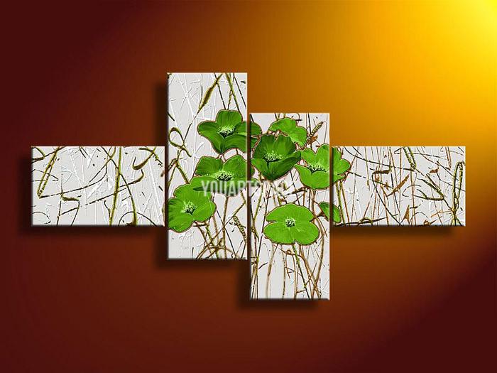 4 Piece Pintura Mural Art No quadro abstrato moderno Acrílico Flor Verde Oil Poppy na lona Sala Pictures Obra(China (Mainland))
