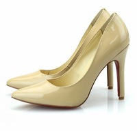 New fashion sexy woman red bottom pumps stiletto high heels nude color genuine leather shoes for women