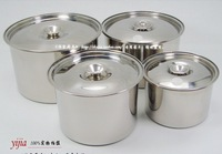 stainless steel flavor pot with cover 14cm   set of 4 pieces pot panela