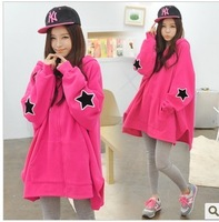 2013 new women's  winter  Hoodies coat loose bat sleeve sweater starswomen outerwear batwing sleeve loose plus size sweatshirt