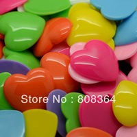 Free Shipping 20 Pcs Random Mixed Resin Heart Flatback Cabochon Scrapbook Decoration 29x28mm(W02560 X 1)