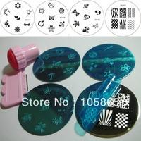 """4pcs Nail Stamping Plate + 1set Stamp & Scraper "" SALON EXPRESS NAIL ART STAMPING KIT Round Image Plate Print Template Set NEW"