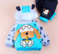 2013 new children's clothing boutique style children cotton-padded jacket warm coat cute puppy piece