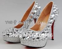 New arrival lady's High-heeled shoes handmade rhinestone platform ultra high heels single shoes bride wedding party pumps  11cm