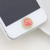 Min.Order $12(can mix) Brilliant Rose Diamond Bordered Home Return Keys Buttons Sticker For iPhone 4S iPhone 5 iPod Touch iPad