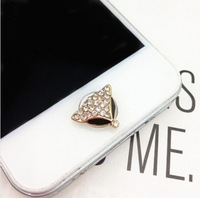 Min.Order $12(can mix) New 3D The fox Crystal Diamond Home Return Keys Buttons Sticker For iPhone 4S iPhone 5 iPod Touch iPad