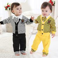 New fashion baby boy striped genltmen suit 3 pcs,baby boy V neck long sleeved clothing set autumn spring fashion 2014 outwear