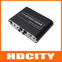 Free Shipping!5.1 AC3 DTS HD Audio Gear Sound Decoder Stereo Digital Audio Converter LPCM To 5.1 Analog Output 2.1 DVD PC HDCITY