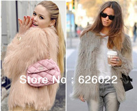 Super quality ~ Women's  Faux Fur jacket Coat 4 inches Long Hairy Long sleeve Shaggy Outwear Autumn Winter Tops Free Shipping