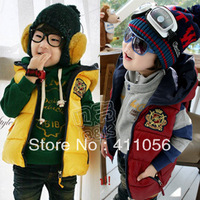 2013 winter badge boys clothing girls clothing child with a hood cotton vest wt-0780