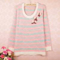 2013 autumn women's loose Women bow o-neck sweater pullover basic sweater female