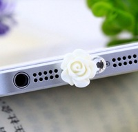 Min.Order $12(can mix) Purple 3D Crystal Rhinestone Rose Charms Charger Port plug Anti Dust Plug For iPhone 5