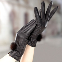 2013 women's autumn and winter leather gloves cute rabbit fur ball thermal gloves PU gloves