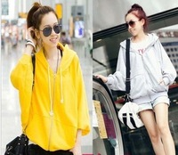 2013 autumn outerwear thin sweatshirt with a hood batwing shirt zipper-up juniors clothing loose casual