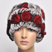 13 handmade knitted hat rex rabbit hair flower toe cap covering cap woven fur hat