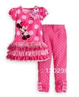 2013 new design girls minnie mouse t-shirt+pants set kids summer clothing suit children's dot minnie tops set wholesale