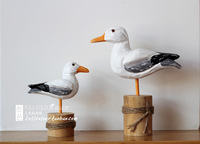 Marine solid wood sculpture wool seagull crafts home decoration twinset