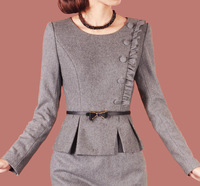 2013 autumn and winter outfit brief OL elegant faux two piece set woolen slim one-piece dress