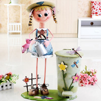 Home fashion rustic home decoration pure metal doll pedal garbage bucket