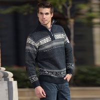 Mwe star style zipper turn-down collar sweater thick artificial wool , genuine wool clothing men fashion flower sweater