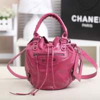 2013 Vintage motorcycle bag tassel rivet PU leather handbags one shoulder drawstring bucket bag  female tote bags free shipping