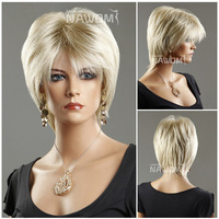 Natural Brazilian hair curtain Female Female Glamorous short blond Wig Mannequin Head Hair wigs