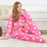 Winter new arrival women's powder hellokitty split sleepwear coral fleece lounge set