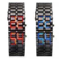 Free shipping 10pcs/lot Lava Iron Samurai LED Digital Faceless Metal Bracelet Unisex Wrist Watch Gifts