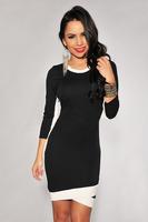 White Trim Bodycon Midi Dress in Black 2014 New Fashion Winter Autumn Summer Women Dresses One-piece