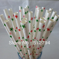 Free shipping Drinking Paper Straws,Paper Straws,  Christmas Star red/green party paper drinking Straws 500pcs/lot