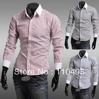 091 2013 foreign trade new vertical stripe shirt men's long-sleeved Slim  shirt