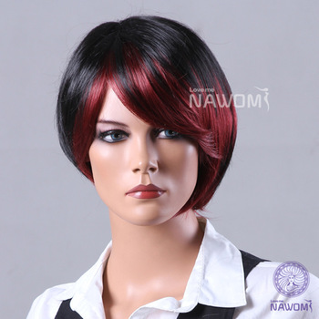 "HOT SALE 100% Kanekalon Synthetic Full Wigs 5.5"" Black & Red Straight Short Wigs"