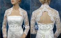 Famous Long sleeve Back keyhole Alencon Lace Bridal Jacket Bolero Shawl Coats Shrug Cape Wrap Wedding Dress