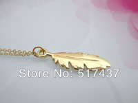 New 2013 Simple Necklace Costume Jewelry Gold Feather Charm 18K Gold-Filled Chain Necklace