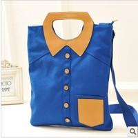 New Arrival!Free Shipping Creative Shirt Shape handbag Simple canvas backpack student schoolbag couple Shoulders bag
