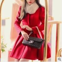 2013 autumn and winter women red wool coat  fur collar woolen outerwear winter overcoat free shipping xc-805