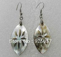 Natural Australian abalone shell deep Leaves earrings Fashion jewelry