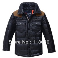 Retail--2014 old children boys long style fashion thickening  down coat kids long winter down long costume jacket