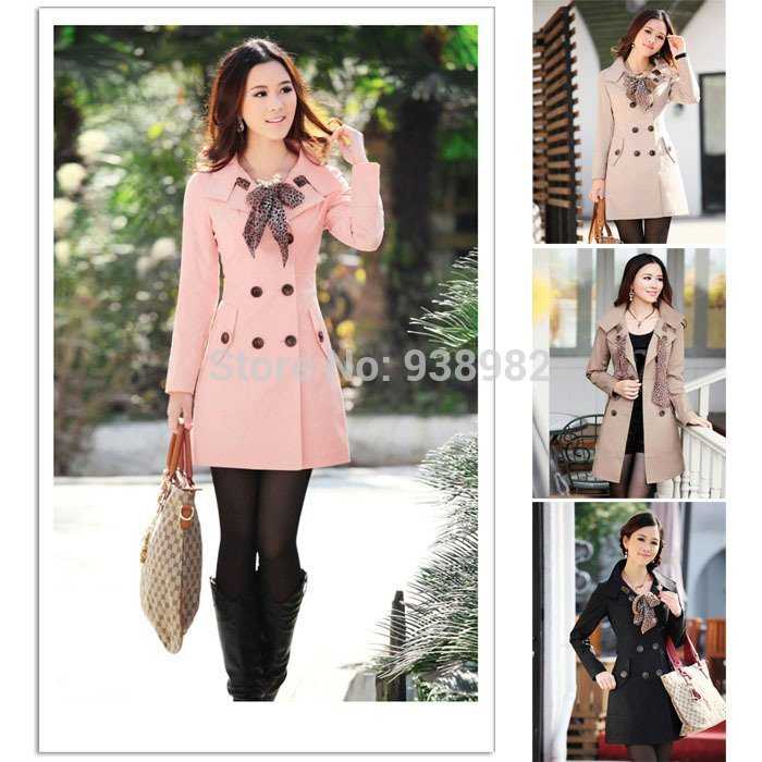 2014 Hot Womens Lady Double Breasted Long Jacket Scarf Coat Outwear Fashion Autumn Winter Coat(China (Mainland))