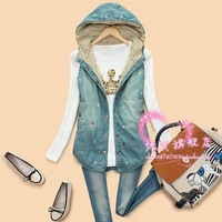L6-5 autumn and winter 2012 sweet heart embroidery with a hood women's denim vest cotton vest, free shipping