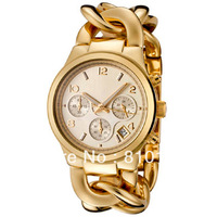New MK3131 Women Chronograph Stainless Steel Gold-tone Ladies Quartz Watch M K3131 3131 With Box
