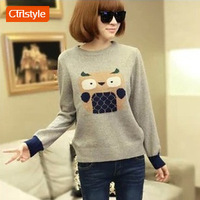 Fashion clothes women 2013 cartoon owl pattern pullover sweater female sweater Free shipping
