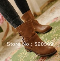 FREE SHIPPING women Boots female spring and autumn new 2013 fashion women's martin boots flat vintage buckle motorcycle boots F3
