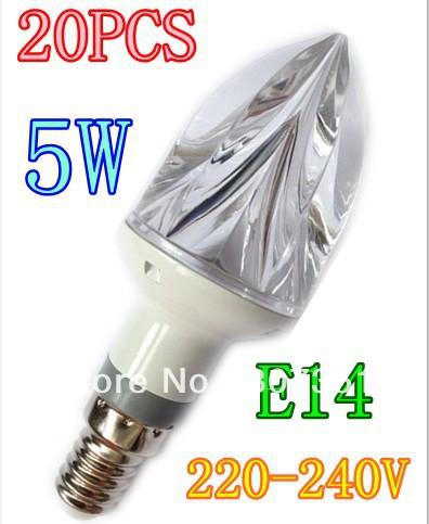 wholesale(20 pieces/lot) LedLight LED Bulb Light Spot Light AC220-240V LED Candle lights lamp E14 5W Free shipping(China (Mainland))