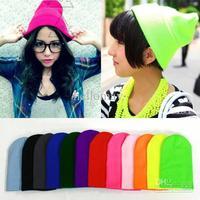 Wholesale - New Beanie Fashion Unisex Stretch Beanie Punk Knit Candy Color Ski Hat Stretchable Cap o
